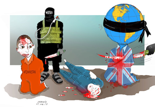 Cartoon: London and kabul terror attack! (medium) by Shahid Atiq tagged afghanistan,balkh,helmand,kabul,london,nangarhar,attack,afghanistan,balkh,helmand,kabul,london,nangarhar,attack