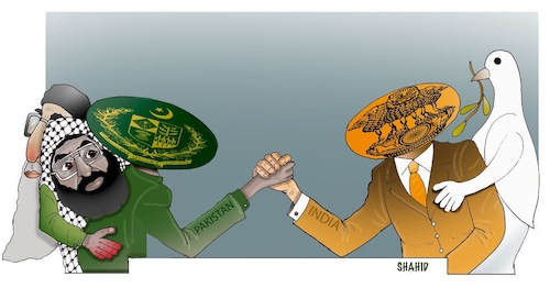 Cartoon: The conflict between India and (medium) by Shahid Atiq tagged india