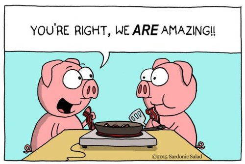 Cartoon: everybody loves bacon (medium) by sardonic salad tagged bacon,pigs,cartoon,comic,sardonic,salad