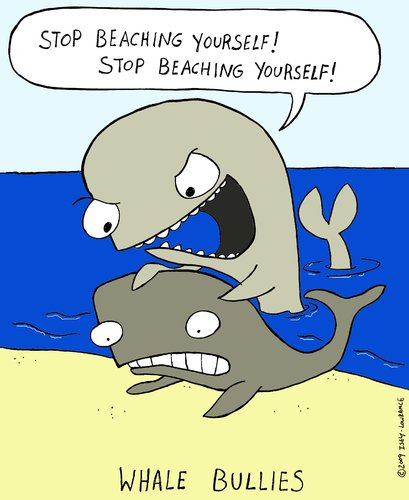 Cartoon: whale bullies color version (medium) by sardonic salad tagged whale,bullies,beached,sardonicsalad