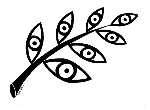 Cartoon: Leaf (medium) by ercan baysal tagged glance,turkey,ink,line,illustration,logo,tattoo,tshirt,cartoon,art,work,draw,handmade,ercanbaysal,daydream,favorite,vision,image,picture,silhouette,graphic,fineart,sketch,eyes,branch,eye,leaf,view