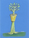 Cartoon: Flowerpot and tree (small) by ercan baysal tagged cartoon,illustration,ercanbaysal,turkey,handmade,vision,picture,good,job,master,art,work,flowerpot,tree,leaf,blue,green,nature,turkiye