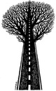 Cartoon: Road and tree (small) by ercan baysal tagged road,tree,way,ercanbaysal,türkiye,satire,graphic,picture,art,artwork,vision,silhouette,türkey,draw,work,logo,humour,turquie,white,highway,black,bw,arm,line,ink