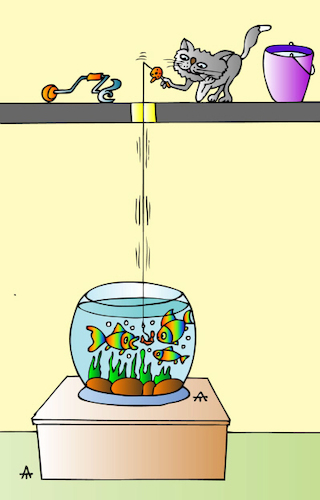 Cartoon: Cat and Fish (medium) by Alexei Talimonov tagged cat,fish