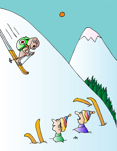 Cartoon: Skiing (medium) by Alexei Talimonov tagged skiing