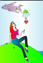 Cartoon: Woman and Aircraft (small) by Alexei Talimonov tagged woman,aircraft