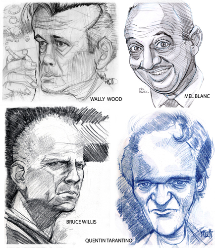 Cartoon: 4 Faces (medium) by Cartoons and Illustrations by Jim McDermott tagged brucewillis,wallywood,melblanc,quentintarantino,pulpfiction