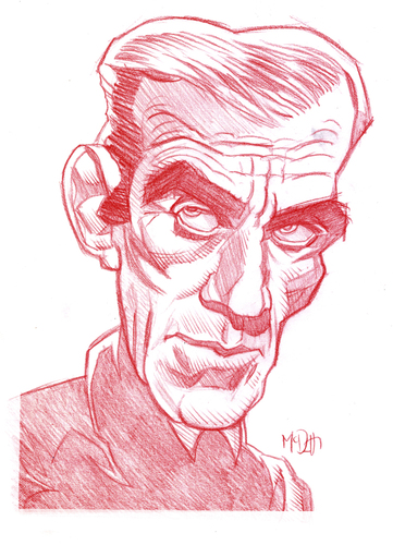 Cartoon: Boris Karloff (medium) by Cartoons and Illustrations by Jim McDermott tagged boriskarloff,monster,scary,fantasy,caricature