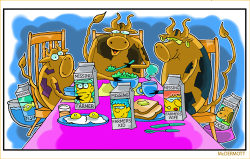 Cartoon: Cowtoons (medium) by Cartoons and Illustrations by Jim McDermott tagged cows,animals,farmer