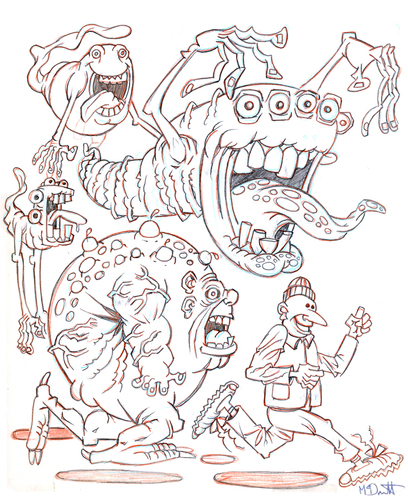 Cartoon: Flying Friends (medium) by Cartoons and Illustrations by Jim McDermott tagged sketchbook,monsters,scary