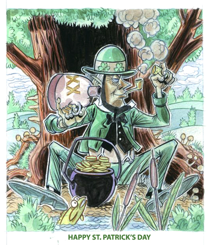 Cartoon: St. Patricks day (medium) by Cartoons and Illustrations by Jim McDermott tagged stpatricksday,leprechaun,iris