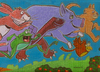Cartoon: Flying Animals (small) by Cartoons and Illustrations by Jim McDermott tagged childrensbook,fantasy,animals,frog,cat,pig,turtle