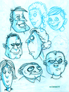 Cartoon: Sketchbook Faces (small) by Cartoons and Illustrations by Jim McDermott tagged sketchbook people crowd faces