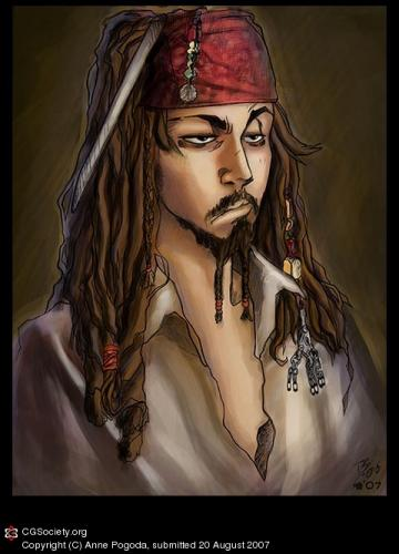 Cartoon: Captain Jack Sparow (medium) by Azurelle tagged azurelle,anne,pogoda,captain,jack,sparrow,cartoon,