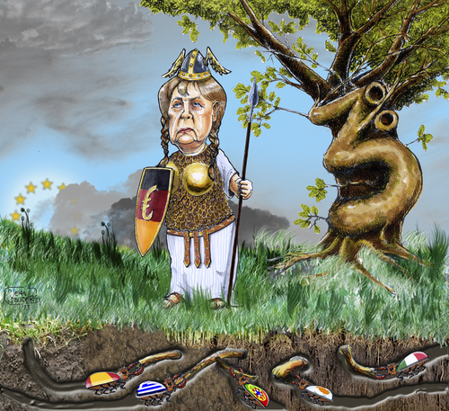 Cartoon: The holy oak under siege (medium) by jean gouders cartoons tagged euro,crisis,merkel