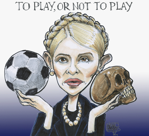 Cartoon: toplay or not to play (medium) by jean gouders cartoons tagged timochenko,football