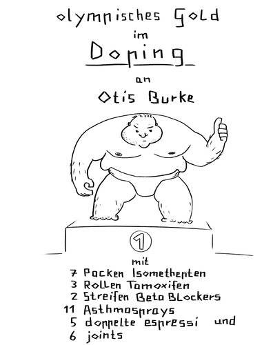 Cartoon: doping wird olympisch (medium) by Bonville tagged doping,olympia,olympisch,lösung,problem,gold