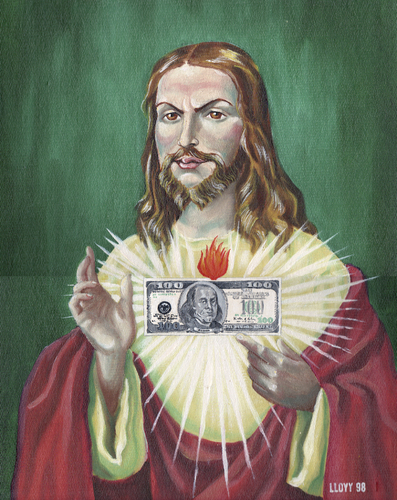 Cartoon: Sacred heart (medium) by lloyy tagged money,sacred,heart,religion,humor