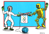 Cartoon: The Spirit and Technology (small) by srba tagged fencing,robots,olympic,games,flag,sport