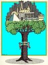 Cartoon: World Tree (small) by srba tagged tree woodpeckers buildings