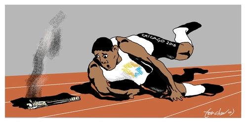 Cartoon: Olympic Mishap (medium) by Bravemaina tagged chicago,olympics,2016
