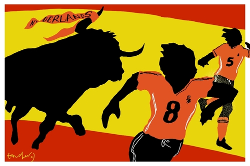 Cartoon: Running scared (medium) by Bravemaina tagged spain,netherlands,soccer,football,world,cup