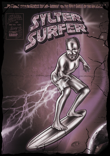 Cartoon: Sylter Surfer2 (medium) by elle62 tagged retro,comic,surfing