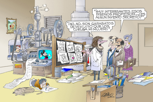 Cartoon: The Inventor (medium) by LAINO tagged inventors