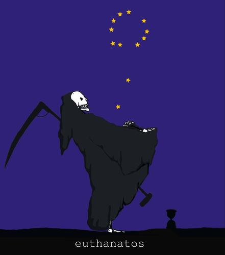Cartoon: EU-Thanatos (medium) by hollers tagged thanatos,tod,eu,euthanatos,euro,europa,krise,hollers,sterntaler,starmoney,flag,flagge,tod,eu,europa,krise,euro,sterntaler