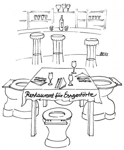 Cartoon: Restaurant (medium) by besscartoon tagged wc,essen,essgestört,restaurant,bulimie,besscartoon,bess