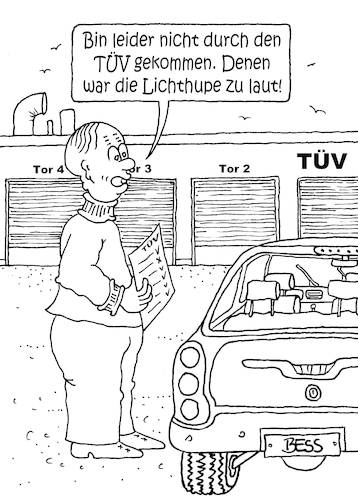 Cartoon: TÜV (medium) by besscartoon tagged mann,tüv,auto,automobil,lichthupe,sicherheit,bess,besscartoon
