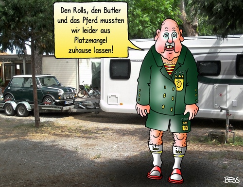 Cartoon: very british (medium) by besscartoon tagged rolls,royce,butler,mini,pferd,camping,platzmangel,freizeit,camper,wohnmobil,spartanisch,einfach,luxus,urlaub,reichtum,reise,bess,besscartoon