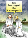 Cartoon: Bestager trifft Restager (small) by besscartoon tagged bestager,restager,alt,alter,rollator,stock,sterben,tod,bess,besscartoon