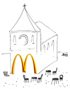 Cartoon: McKatholisch (small) by besscartoon tagged kirche,fastfood,fast,food,essen,religion,mcdonald,bess,besscartoon