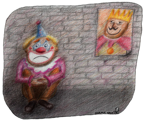 Cartoon: King and Clown (medium) by Osama Salti tagged king,clown,smile,sadness,happiness,bad,good,leader,people
