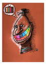 Cartoon: Media - African Face (small) by Osama Salti tagged 2010,media,human,african,face,tv,colored,teeth,rainbow,thought,influence,life,people