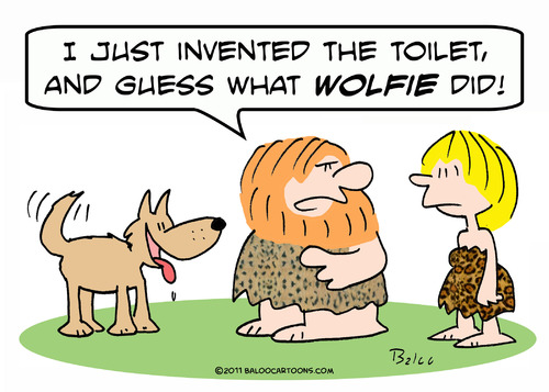 Cartoon: cameman wolf invent toilet (medium) by rmay tagged cameman,wolf,invent,toilet