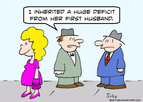 Cartoon: deficit inherited first husband (medium) by rmay tagged deficit,inherited,first,husband