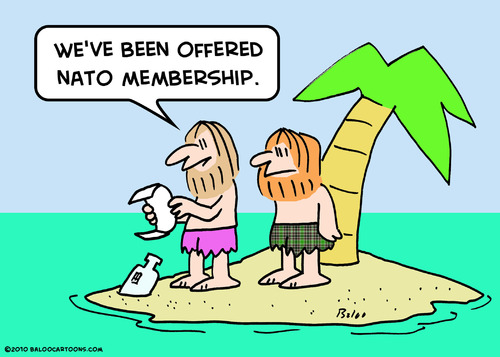 Cartoon: desert isle nato membership (medium) by rmay tagged desert,isle,nato,membership